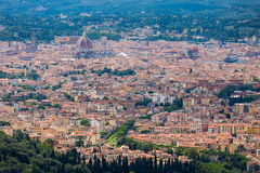 The Florence dome in a far away panorama from Fiesole Stock Image