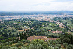The Florence dome in a far away panorama from Fiesole Royalty Free Stock Images