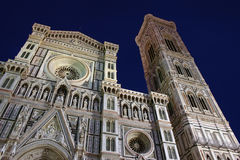 Florence domkyrka vid natt Fotografering för Bildbyråer