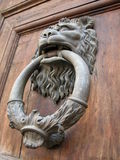 Florence Door Knocker. Antique brass door knocker on a door in Florence, Italy stock images