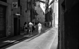 Florence, downtown street in black and white. royalty free stock photo