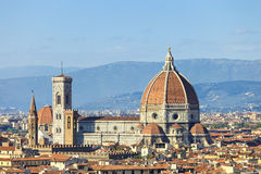 Florence, Duomo Cathedral landmark. Panorama view from Michelang. Florence, Duomo Cathedral, Basilica Santa Maria del Fiore landmark and Giotto Campanile Royalty Free Stock Photo