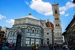 Florence Duomo Cathedral. And piazza in Italy Royalty Free Stock Photo