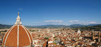 Florence Duomo City Panorama. View on Florence Duomo and city from Campanile tower. Blue sky on a sunny day. Duomo Santa Maria Del Fiore Stock Photo