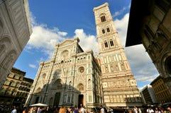 Florence Duomo en toren, kunstoriëntatiepunt in Italië Stock Foto's