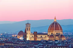 Florence Duomo in the evening pink sunlight Stock Photos