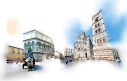 Florence, the duomo square. The Duomo square in Florence in a near-watercolor illustration Stock Images