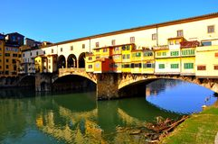 Florence famous bridge in the city center , Italy stock image