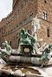 Florence - Famous Fountain of Neptune on Piazza della Signoria,. Marble and bronze fountain by Bartolomeo Ammannati in Piazza della Signoria Royalty Free Stock Photo