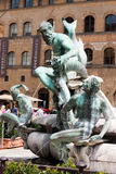 Florence - Famous Fountain of Neptune on Piazza della Signoria,. Marble and bronze fountain by Bartolomeo Ammannati in Piazza della Signoria stock images