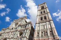Florence, fasade van Florence Cathedral, Brunnaleski-koepel stock foto