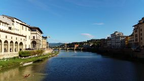 Florence (Firenze), Italy - Arno river. Florence (Firenze), Arno river. Florence, Italy view of Arno river (Fiume Arno) in Toscana (Tuscany) region stock video footage