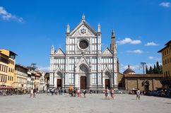 View of the facade of Santa Croce church in Florence in Firenze, Tuscany, Italy royalty free stock image