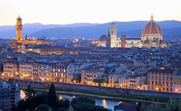 Florence Firenze skyline with Palazzo Vecchio and Duomo. Tuscany, Italy Stock Images