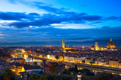 Florence or Firenze sunset aerial cityscape. Panorama view from. Michelangelo park square. From left Palazzo Vecchio and Duomo Cathedral. Italy Stock Image