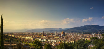 Florence or Firenze sunset aerial cityscape.Tuscany, Italy Royalty Free Stock Photos