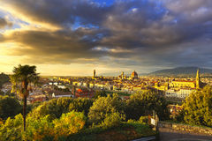 Florence or Firenze sunset aerial cityscape.Tuscany, Italy. Florence or Firenze sunset aerial cityscape. Panorama view from Michelangelo park square. Ponte Stock Images