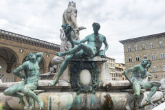 Florence (Firenze). Florence (Firenze, Tuscany, Italy): medieval buildings in Piazza della Signoria, and the Neptune's Fountain Stock Photos