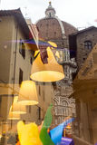 Florence (Firenze). Florence (Firenze, Tuscany, Italy): the medieval cathedral with the Brunelleschi's dome reflected in a shop window Royalty Free Stock Photos