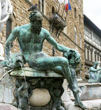 Florence (Firenze). Florence (Firenze, Tuscany, Italy): the Palazzo Vecchio, medieval building in Piazza della Signoria, and the Neptune's Fountain Royalty Free Stock Photo