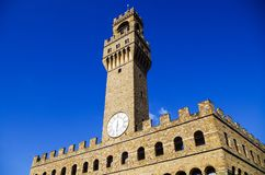 Florence or Firenze, view of the Clock Tower on The Old Palace, Palazzo Vecchio stock photos