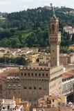 Florence - flyg- sikt av Palazzo Vecchio från Giottos Klocka släp Arkivbild