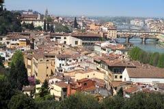 Florence från den Piazzale Michelangelo synvinkeln Arkivbilder