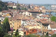 Florence från den Piazzale Michelangelo synvinkeln Fotografering för Bildbyråer