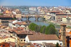 Florence från den Piazzale Michelangelo synvinkeln Arkivfoton
