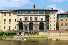 Florence Galleriadegli Uffizi och Galileo Galilei Museum Facad royaltyfria foton