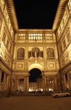 Florence, Gallery of the Ufizzi at night Stock Images