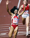 Florence Griffith Joyner. Wins in Seoul, South Korea. (Image taken from color slide Royalty Free Stock Photo
