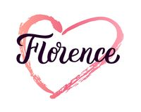 Florence hand lettering. Florence - trendy brush hand lettering with heart. Isolated on white background. Greetings for t-shirt, mug, card, logo, tag, postcard Stock Photo