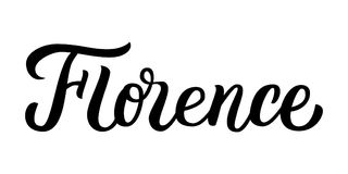 Florence hand lettering. Florence - hand lettering. Isolated on white background. Greetings for t-shirt, mug, card, logo, tag, postcard, banner. Drawn art sign Stock Images