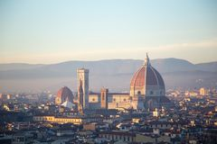 Florence historic center palaces renaissance capital of tuscany. Brunelleschi`s dome and Giotto`s bell tower florence historic center palaces renaissance capital Stock Photography