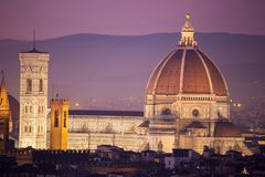 Florence historic center palaces renaissance capital of tuscany. Florence historic center palaces renaissance Brunelleschi`s dome and Giotto`s bell towercapital Stock Photo