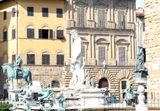 Florence historical fountain with the statue of Neptun Royalty Free Stock Image