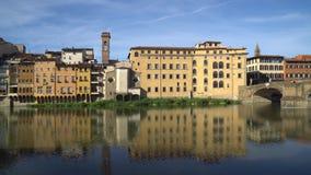 Florence holy trinity bridge from old bridge Ponte Vecchio.  stock video