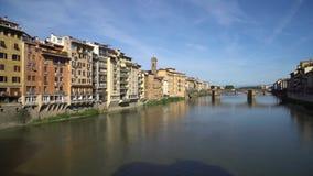 Florence holy trinity bridge from old bridge Ponte Vecchio.  stock video footage