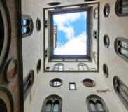 Florence i Italien, inre Palazzo Vecchio, den första borggården arkivbilder