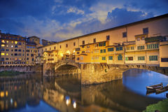 Florence. Image of Ponte Vecchio in Florence, Italy at dusk royalty free stock photo