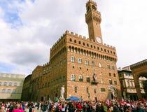 Florence, Italië - Mei 01, 2014: Palazzo Vecchio is het stadhuis Royalty-vrije Stock Afbeeldingen