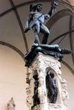 Florence, Italië, Perseus met het Hoofd van Kwal is een bronsbeeldhouwwerk dat door Benvenuto Cellini wordt gemaakt stock afbeelding