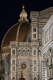 Florence Italien - 23 April, 2018: fasad av Cattedrale di Santa Maria del Fiore Arkivbild