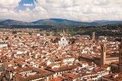 Florence Italien, cityscape från det Giotto tornet Arkivfoton