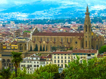 Florence Italien - Maj 01, 2014: Basilikadina Santa Croce - berömd Franciscankyrka Royaltyfria Bilder