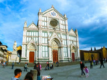 Florence Italien - Maj 01, 2014: Basilikadina Santa Croce - berömd Franciscankyrka på Florence, Italien Royaltyfri Bild