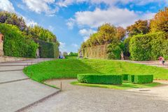 FLORENCE ITALIEN MAY 14, 2017: Boboli Trädgård Giardino di Bobo royaltyfri fotografi
