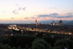 Florence Italien på skymning royaltyfri fotografi