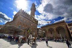 Florence Italien, piazzadellasignoria Royaltyfria Bilder